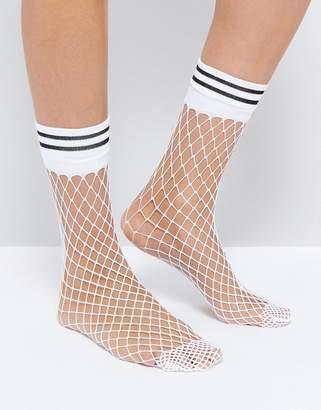 Asos Design Stripe Welt Fishnet Socks In White