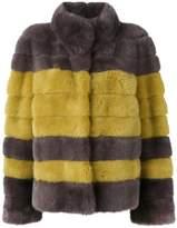 皮毛一毛条纹夹克