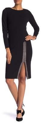 Modern American Designer Long Sleeve Embellished Bead Front Slit Dress