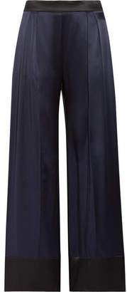 Michael Lo Sordo - Two-tone Silk-satin Wide-leg Pants - Midnight blue