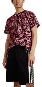 Gucci Men's Vintage-Logo Leopard-Print Cotton T-Shirt - Black