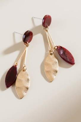 francesca's Marisa Marbled Resin Drop Earrings - Burgundy