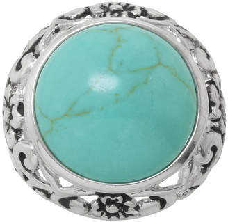 SPARKLE ALLURE Simulated Round Turquoise Filigree Ring