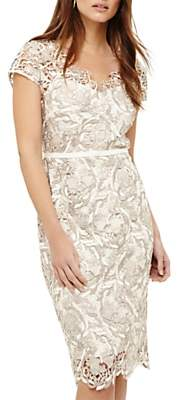 Phase Eight Lottie Lace Dress, Cream Oyster