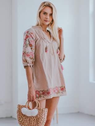 Goodnight Macaroon 'Anika' Pink Floral Embroidery Tassels Boho Mini Dress