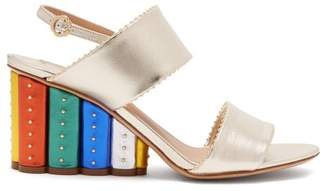 Salvatore Ferragamo Gavi Rainbow Heeled Wedge Sandals - Womens - Gold Multi