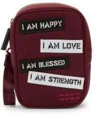 Peace Love World Text Patch Crossbody Camera Bag