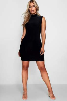 boohoo Plus Slinky High Neck Bodycon Dress