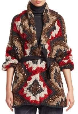 Brunello Cucinelli Sequin Marled-Knit Cashmere Cardigan
