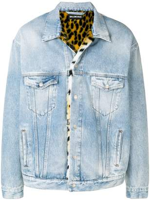 Balenciaga Oversized denim fur jacket