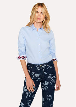 Paul Smith Women's Slim-Fit Light Blue Cotton Shirt With 'Lips' Print Cuff Lining