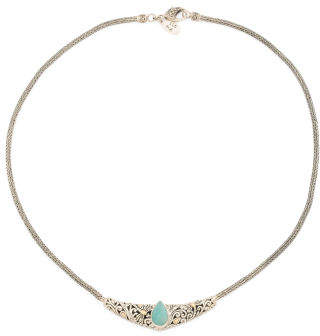 Made In Indonesia 18k And Sterling Silver Amazonite Necklace