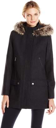 London Fog Women's Wool Parka with Faux Fur Hood