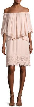 Kobi Halperin Veronica Off-the-Shoulder Silk Popover Dress