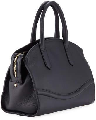 Roberto Cavalli Zip-Top Leather Satchel Bag, Black