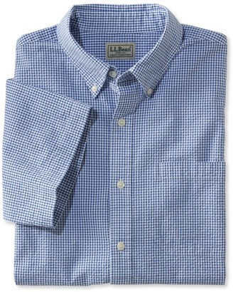 L.L. Bean L.L.Bean Men's Seersucker Shirt, Traditional Fit Short-Sleeve Gingham