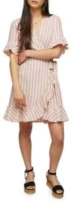 Miss Selfridge Striped Frill Wrap Dress