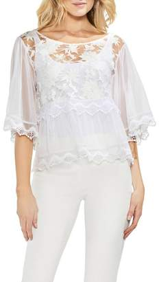Vince Camuto Bell Sleeve Embroidered Mesh Top