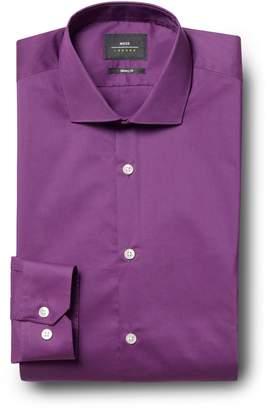 Mens Moss London Skinny Fit Purple Single Cuff Stretch Shirt