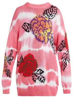 MSGM Floral Intarsia Tie Dye Cotton Sweater - Womens - Pink