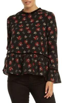Dex Printed Bell-Sleeve Blouse