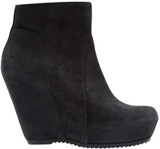 Rick Owens Black Suede Ankle boots