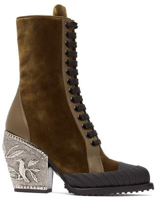 Chloé Rylee Embellished Heel Velvet Ankle Boots - Womens - Khaki