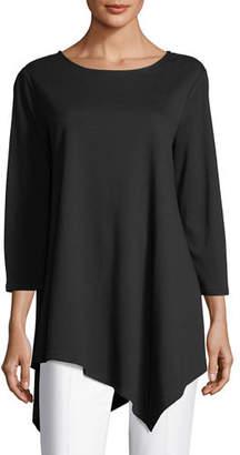 Joan Vass 3/4-Sleeve Asymmetric Tunic, Petite