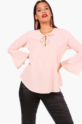 boohoo Plus Lace Up Front Flare Sleeve Tunic Top