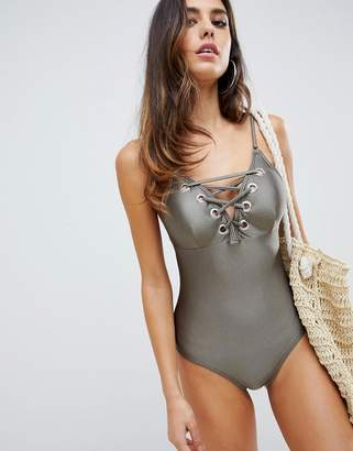 Lipsy swimsuit with lace up detail in khaki
