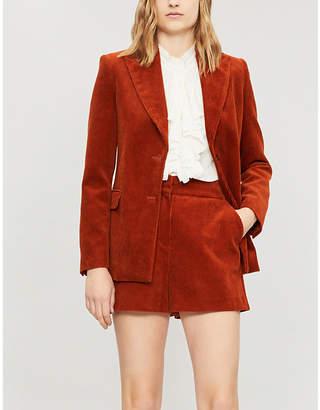 Maje Peak-lapel single-breasted corduroy jacket