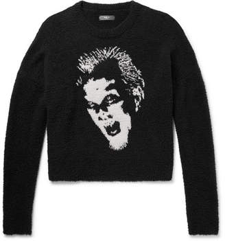 Amiri Intarsia Cotton-Bouclé Sweater