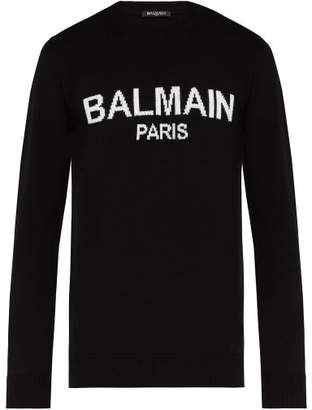 Balmain Logo Print Wool Sweater - Mens - Black White