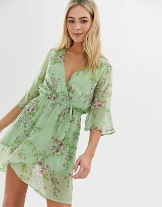 Influence floral print wrap dress