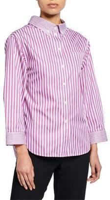 Emporio Armani Striped High-Low Button-Down Blouse