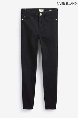 River Island Womens Black Molly Mid Rise Jeans Short Leg - Black