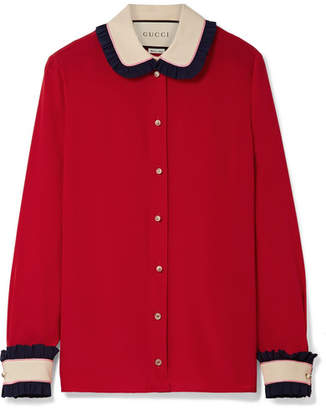 Gucci Color-block Ruffled Silk Blouse - Claret