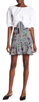 Romeo & Juliet Couture Gingham & Floral Print Skirt