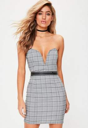 Missguided Black Check Bandeau Plunge Front Mini Dress