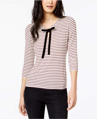 Maison Jules Striped Neck-Tie Top, Created for Macy's