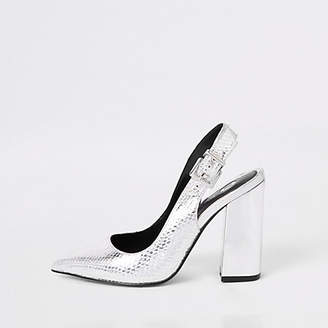 River Island Silver block heel sling back court shoes