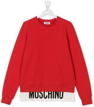 Moschino Kids contrast logo layered hem sweatshirt