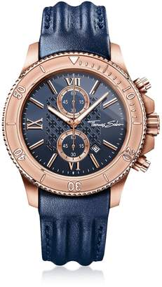 Thomas Sabo Rebel Race Rose Gold Stainless Steel Men's Chronograph Watch W/blue Leather Strap