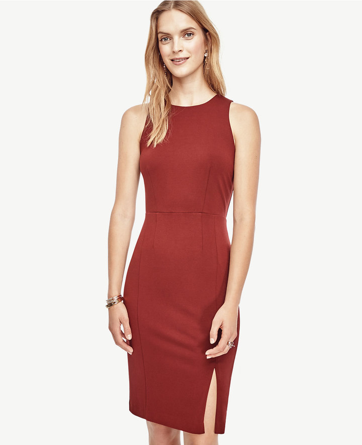 Ann Taylor Petite Ponte Side Slit Sheath Dress