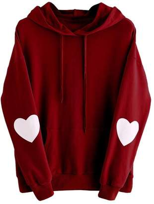 Equipment YANG-YI Clearance, Womens Long Sleeve Heart Hoodie Sweatshirt Jumper Hooded Pullover Blouse (, 3XL)