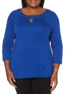 Rafaella Plus Embellished Cotton Top