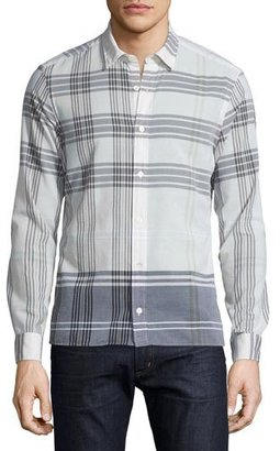 Burberry Brit Exploded-Check Long-Sleeve Sport Shirt, Stone $295 thestylecure.com