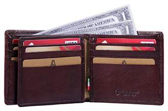 Leather Architect -Men's Real Italian Leather Bifold Wallet with ID and RFID blocking-