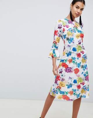 decc6d9fb8c Asos Design DESIGN fluted sleeve midi dress in summer floral print