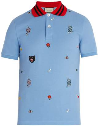 Gucci Embroidered cotton polo shirt